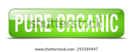pure organic green square 3d realistic isolated web button