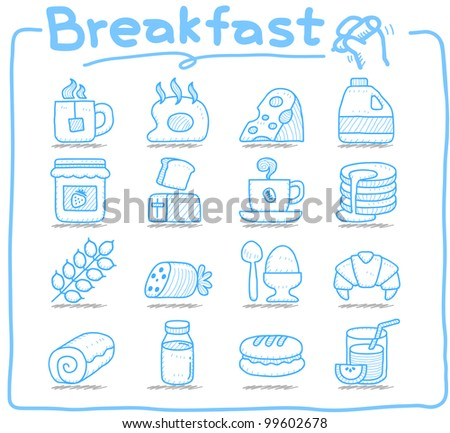 Pure series | Hand drawn  Breakfast, food  icon set - stock vector