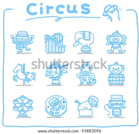 Pure series | Hand drawn Circus icon set - stock vector