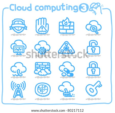 Pure series | Hand drawn Cloud security Icon - stock vector