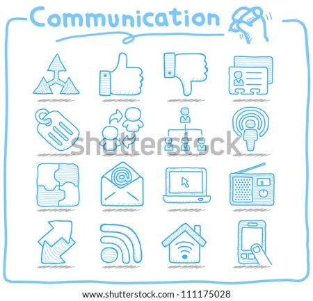 Pure Series | Hand drawn Communication , Network icon set - stock vector