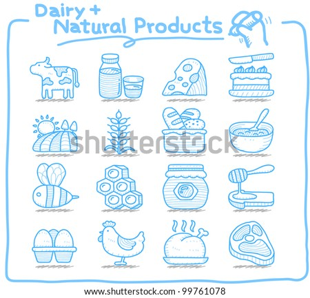 Pure Series | Hand drawn Dairy , Natural Product icon set - stock vector