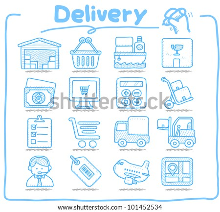 Pure Series | Hand drawn Delivery,Shopping  icon set - stock vector