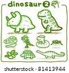 Pure series | Hand drawn Dinosaur Icon set - stock vector