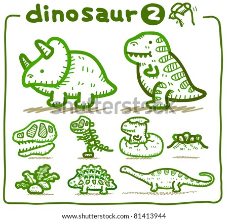 Pure series | Hand drawn Dinosaur Icon set - stock vector