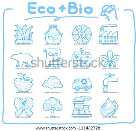 Pure Series | Hand drawn ECO , BIO icon set - stock vector