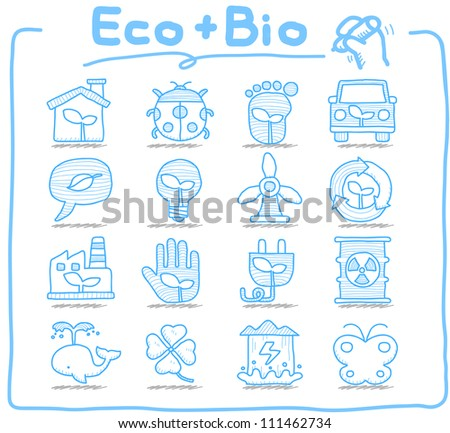 Pure Series | Hand drawn ECO , BIO icon set - stock vector