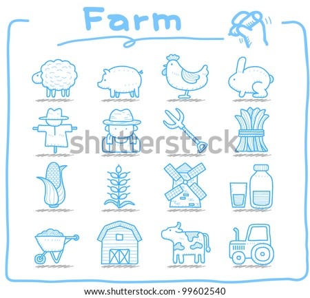 Pure series | Hand drawn Farm icon set - stock vector