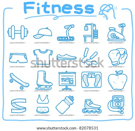 Pure series | hand drawn fitness icon set - stock vector