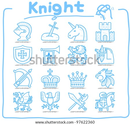 Pure Series | Hand drawn Knight icon set - stock vector