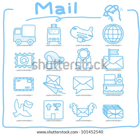 Pure Series | Hand drawn Mail,Delivery icon set - stock vector