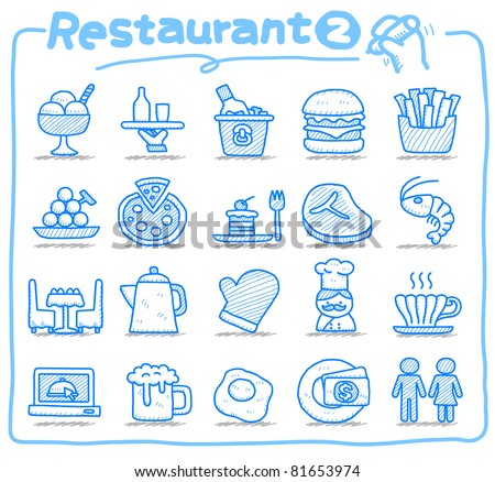 Pure series | Hand drawn Restaurant Icon set - stock vector