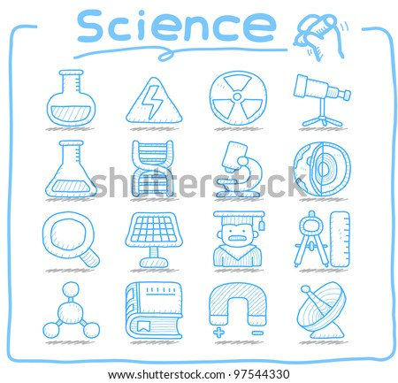 Pure Series | Hand drawn Science icon set - stock vector