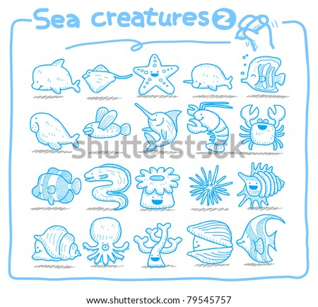 Pure series | Hand drawn  sea creatures icon set - stock vector