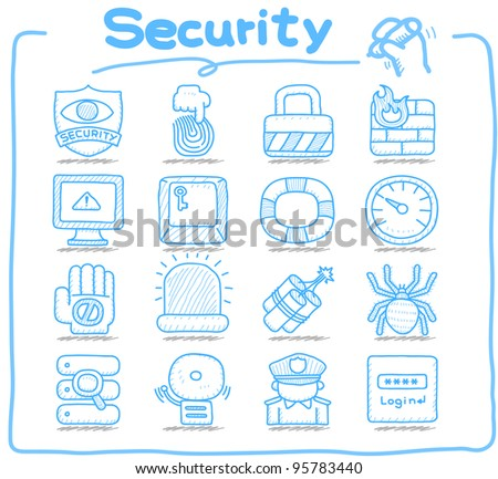 Pure series | Hand drawn  Security,business,icon set - stock vector