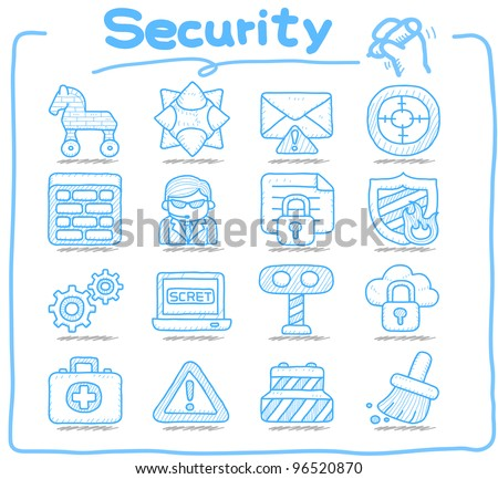 Pure series | Hand drawn Security,business,internet icon set - stock vector