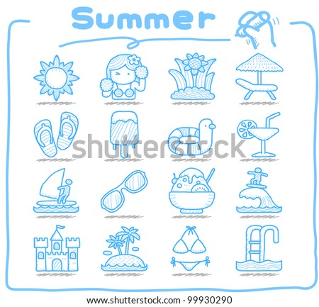 Pure Series | Hand drawn Summer , Season  icon set - stock vector