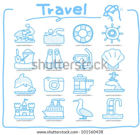 Pure Series | Hand drawn Vacation, Travel icon set - stock vector