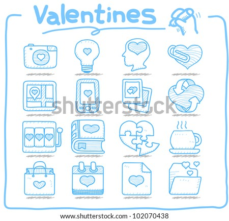 Pure Series | Hand drawn valentine's Day ,love , wedding icon set - stock vector