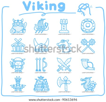 Pure series | Hand drawn Viking Pirate icon set - stock vector