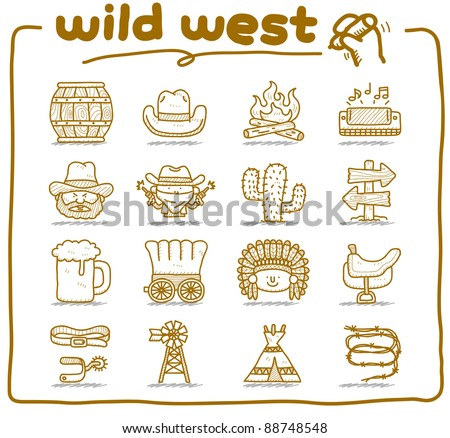 Pure series | hand drawn wild west,cowboy icon set.doodle vector format. - stock vector