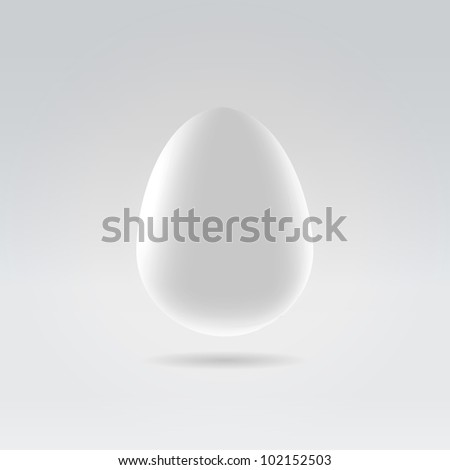 Pure white egg hanging in space studio closeup illustration