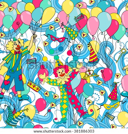Purim Jewish holiday seamless pattern. Colorful background with clowns, balloons, carnival masks and hats,  candy and  traditional  cookies. Vector illustration.