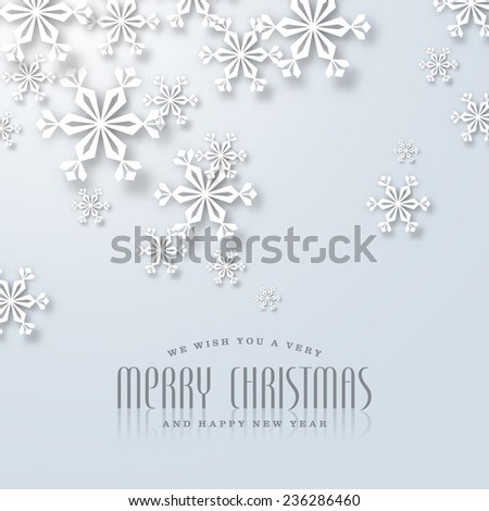 puristic christmas card with paper snowflakes - stock vector