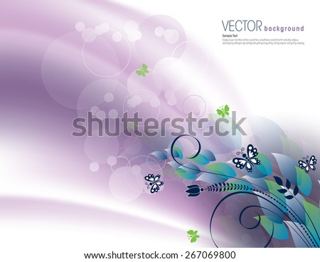 Purple Abstract Background with Bright Leaves and Butterflies. - stock vector