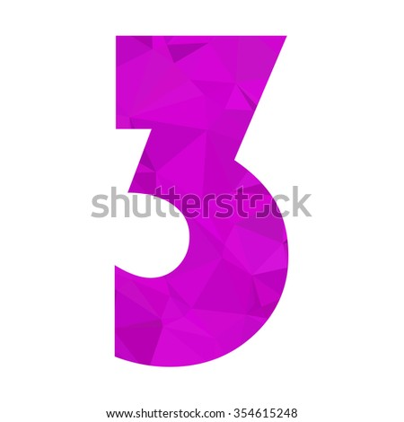 Purple Alphabet Number Vector Polygon Style