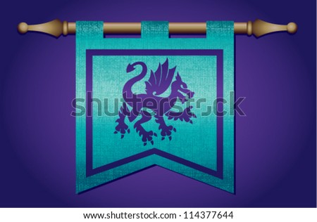 Purple and blue medieval banner flag with cloth texture and symbol of a dragon - stock vector