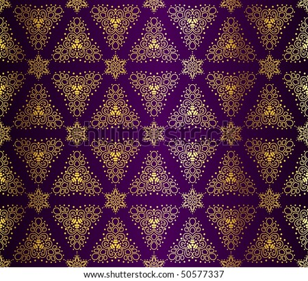 Purple and gold seamless arabesque (Eps10); JPG version also available - stock vector