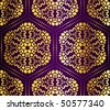 Purple and gold seamless honeycomb arabesque (Eps10); JPG version also available - stock vector