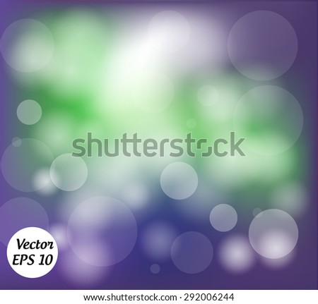 Purple and green abstract background with bokeh. Vector Illustration. - stock vector