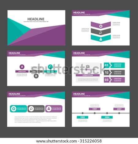 Purple and green polygon Infographic elements presentation template flat design set for brochure flyer leaflet - stock vector