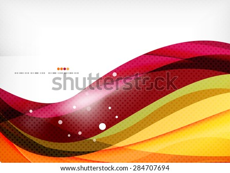 Purple and orange color lines, glossy background - stock vector