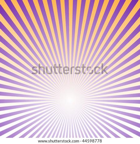 Purple and Orange Sunburst Background - stock vector