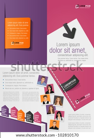 Purple and orange template for advertising brochure with business people - stock vector