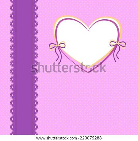purple and pink background with lace ribbon, a pattern of small circles and the frame in the shape of a heart - stock vector