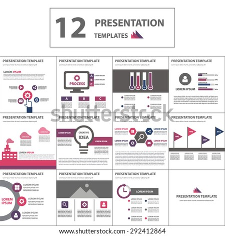 Purple and pink Multipurpose Multicolor presentation template brochure flyer flat design set - stock vector