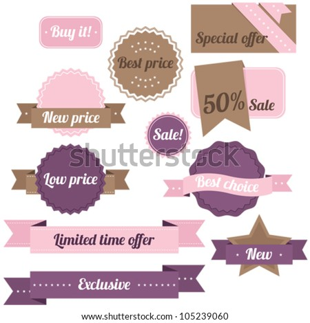 Purple and pink set of sale labels - stock vector