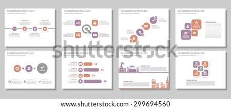 Purple and red multipurpose presentation template brochure flyer flat design set for marketing and advertising 1 - stock vector