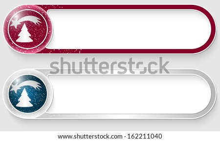 purple and silver vector abstract buttons with a Christmas motif - stock vector