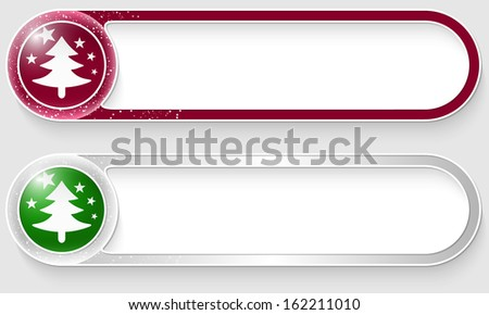 purple and silver vector abstract buttons with a Christmas tree - stock vector
