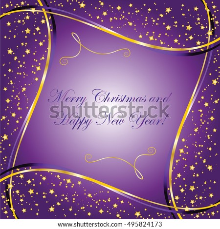 Purple Background Gold Stars Wave Christmas Stock Vector 495824173 - Shutterstock