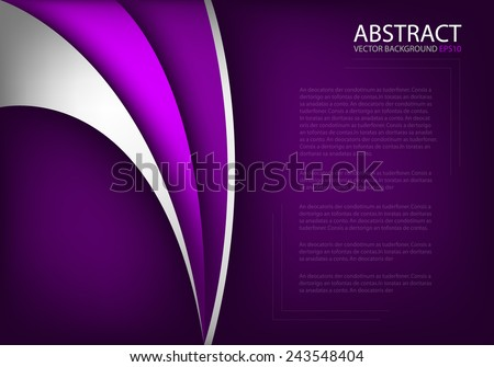 Purple background with silver and purple curve line with dark space for text and message modern background design - stock vector