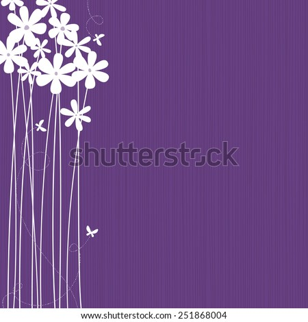 Purple background with white flowers and butterflies. Space for copy/text. Layered vector file, for easy manipulation. - stock vector