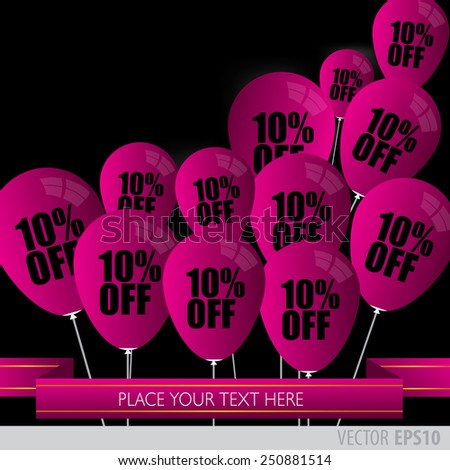 Purple balloons With Sale Discounts 10 percent.