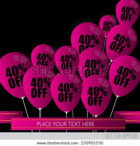 Purple balloons With Sale Discounts 40 percent.