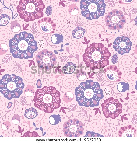Purple Blossom Flowers Seamless Pattern Background - stock vector